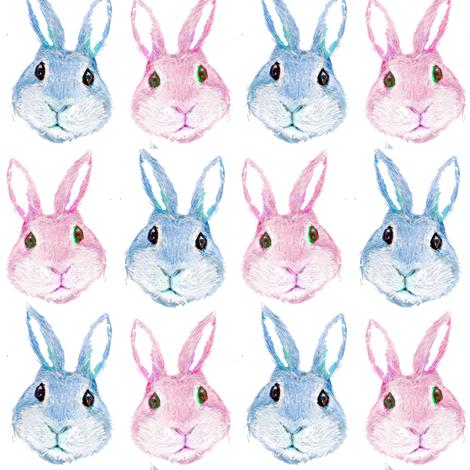 rabbit  pastel nursery cute, boho baby bunny fabric by magentarosedesigns on Spoonflower - custom fabric