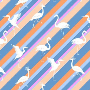 flamingo, crane and heron stripes pink