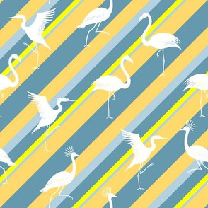 flamingo, crane and heron stripes yellow