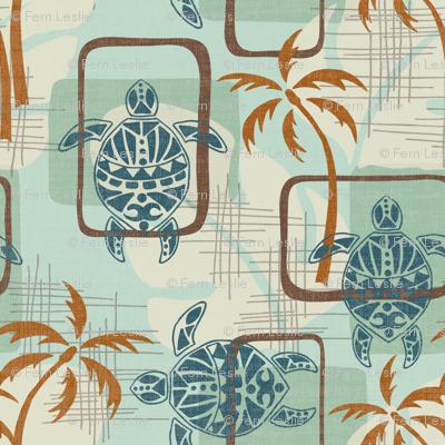 Mid Century Modern Hawaii - turtles, palm trees