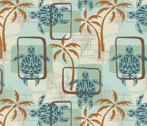 Mid Century Modern Hawaii fabric by fernlesliestudio on Spoonflower - custom fabric