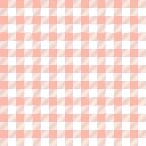 gingham fabric // buffalo plaid design nursery baby design - peach