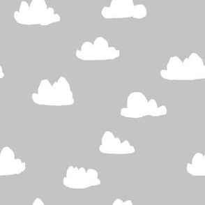cloud fabric // nursery baby fabric baby design - grey
