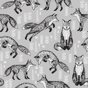 woodland fox fabric //grey baby nursery fabric
