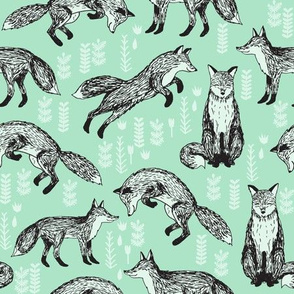 woodland fox fabric // mint  baby nursery fabric