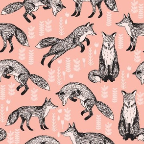 woodland fox fabric // peach baby nursery fabric