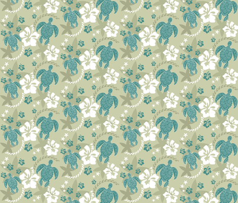 Turtles Around the Islands retro fabric by colour_angel_by_kv on Spoonflower - custom fabric