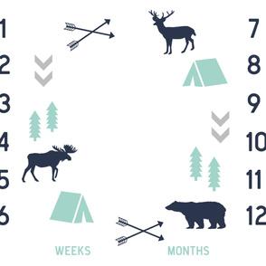 "42"" milestone blanket - camping woodland fabric"
