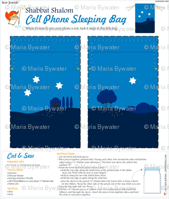 Shabbat Shalom Cell Phone Sleeping Bag - Cut and Sew Project