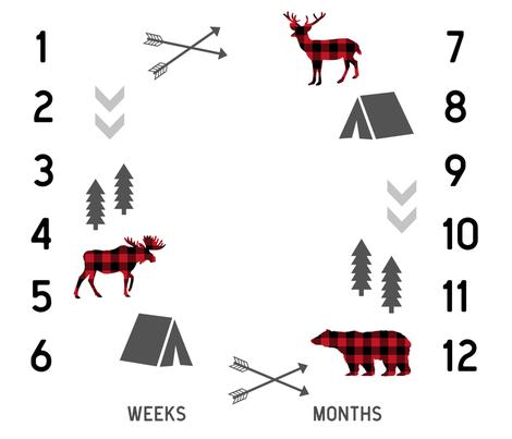 "42"" milestone blanket - camping woodland fabric fabric by charlottewinter on Spoonflower - custom fabric"