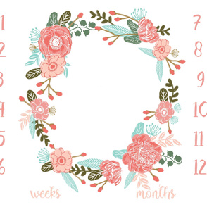 "42"" milestone blanket -floral baby girl blanket"