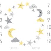 """42"""" milestone blanket - sun moon stars"""
