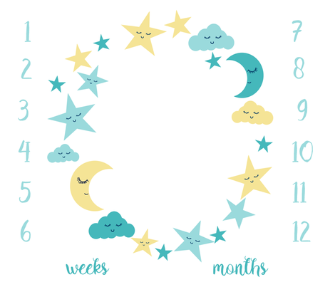 "42"" milestone blanket - sun moon stars fabric by charlottewinter on Spoonflower - custom fabric"