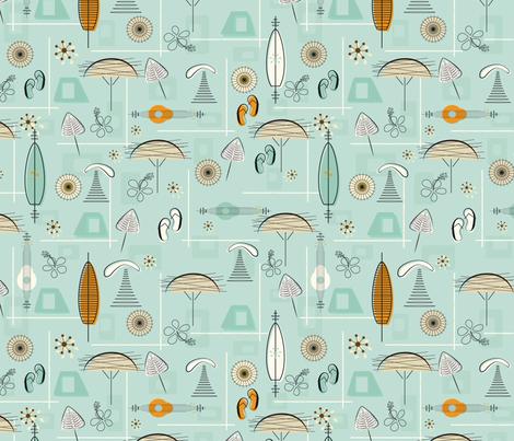 Mid-Century Hawaiian Village Seamless Repeating Pattern on Blue fabric by paula_ohreen_designs on Spoonflower - custom fabric