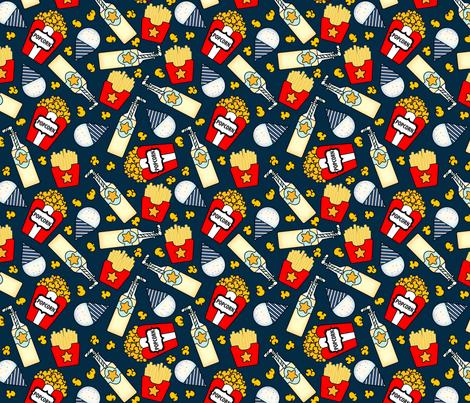 Circus_snacks_on_Oxford_Blue Medium Scale fabric by sylviaoh on Spoonflower - custom fabric