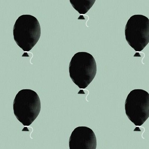 Watercolor balloons - black on mint