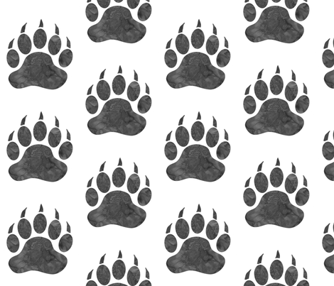 Watercolor Bear Paw - big - grey on white fabric by sugarpinedesign on Spoonflower - custom fabric