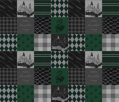 Wizard Quilt- Ambition, Resourcefulness, Cunning - Green and Grey fabric by sugarpinedesign on Spoonflower - custom fabric