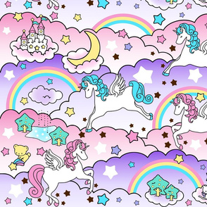 16 Pegasus winged unicorns pegacorns stars rainbows clouds trees ponds lakes teddy bears shooting cats fairy kei lolita sky skies pony ponies horses  kawaii japanese inspired moon castles  colorful