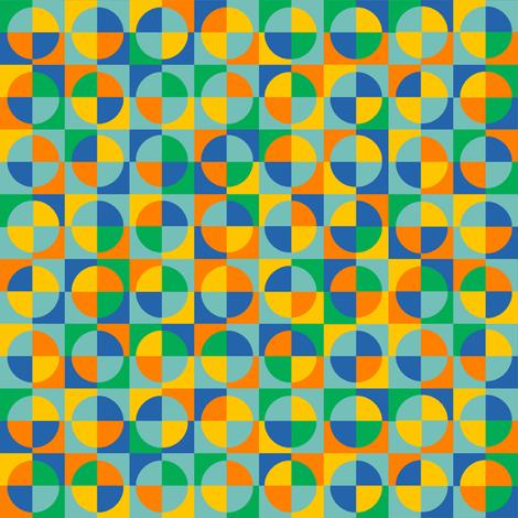 circus quarter circles - blue, orange, yellow, green, aqua fabric by weavingmajor on Spoonflower - custom fabric