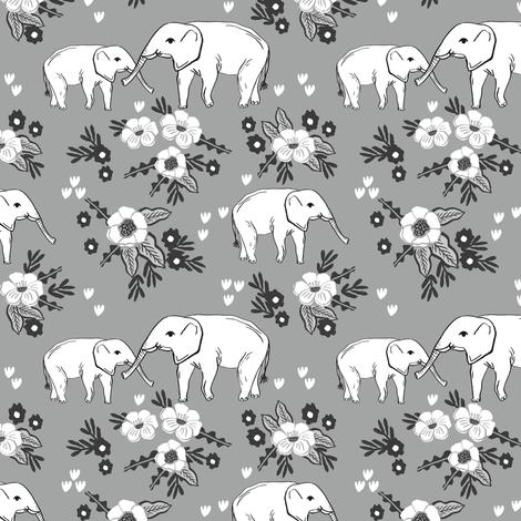 elephant floral fabric nursery baby girls alabama bama fabric fabric by charlottewinter on Spoonflower - custom fabric