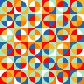 circus quarter circles - red, blue, orange, yellow, aqua, white