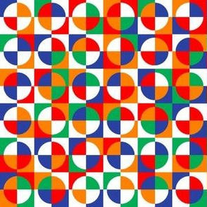 circus quarter circles - red, blue, orange, green, white