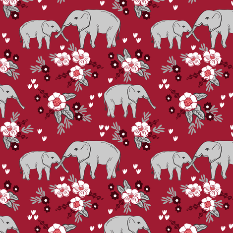 Elephant floral fabric nursery baby girls alabama bama for Floral nursery fabric