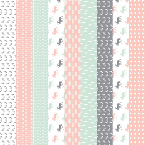 "3"" small scale - 1 Yard Cut - Wholecloth Moose Quilt top // Pink/Grey/Mint"