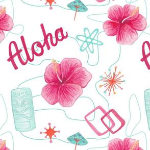 Aloha Hibiscus Mid-Century Modern