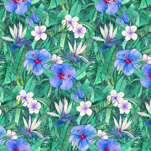 Classic Tropical Floral with Blue Flowers small
