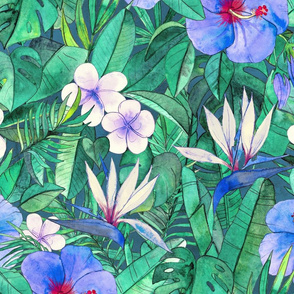 Classic Tropical Floral with Blue Flowers large