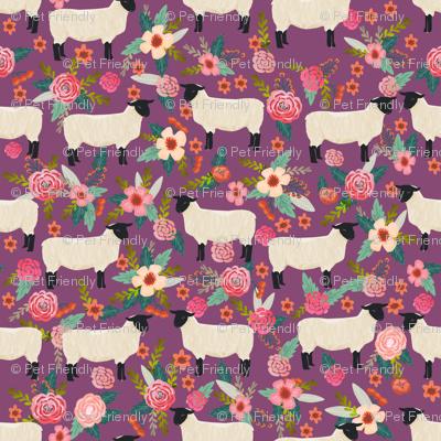 suffolk sheep fabric floral sheep farm design - amethyst