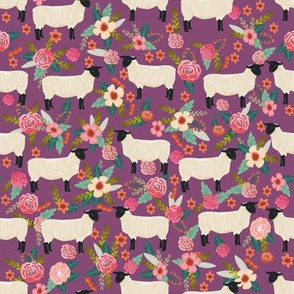 suffolk sheep fabric floral sheep farm design - amethyst