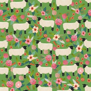 suffolk sheep fabric floral sheep farm design -green