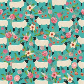 suffolk sheep fabric floral sheep farm design - turquoise