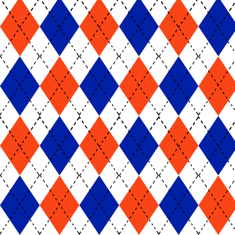 argyle orange and blue florida minimal college sports fabric pattern fabric by charlottewinter on Spoonflower - custom fabric
