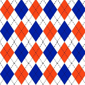 argyle orange and blue florida minimal college sports fabric pattern