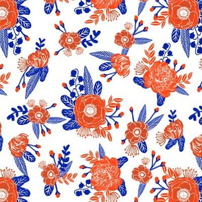 floral florida orange and blue college university football gators fabric