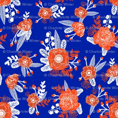 floral florida orange and blue college university football gators fabric