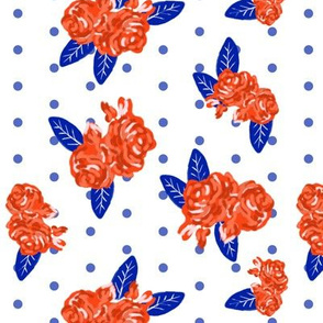 flowers florida orange and blue college university football gators fabric