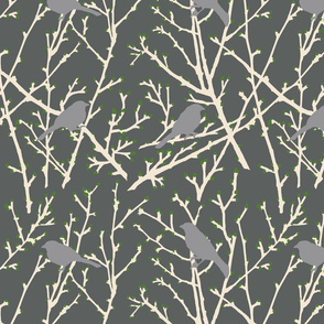 branchy birds - grey/green