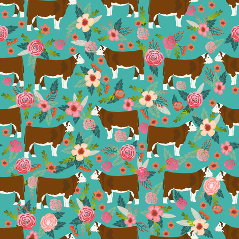 hereford floral fabric // cow cattle cow fabric floral design - turquoise fabric by petfriendly on Spoonflower - custom fabric