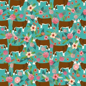 hereford floral fabric // cow cattle cow fabric floral design - turquoise