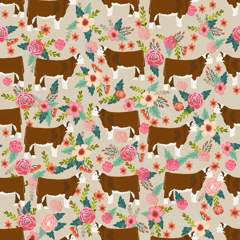 hereford floral fabric // cow cattle cow fabric floral design - sand fabric by petfriendly on Spoonflower - custom fabric