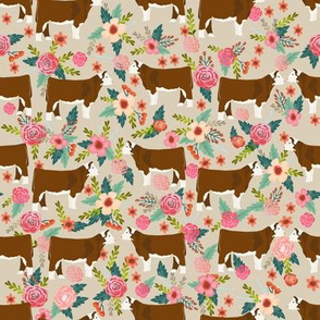 hereford floral fabric // cow cattle cow fabric floral design - sand