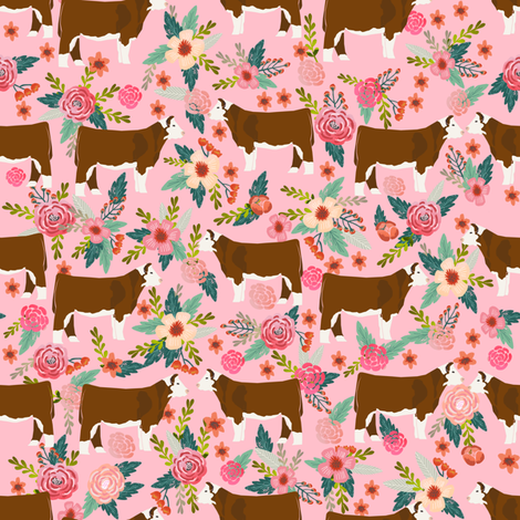 hereford floral fabric // cow cattle cow fabric floral design - pink fabric by petfriendly on Spoonflower - custom fabric