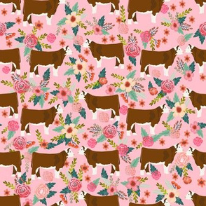 hereford floral fabric // cow cattle cow fabric floral design - pink