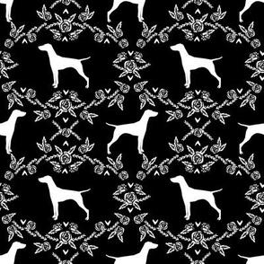 Vizsla silhouette floral pattern dog breed black and white