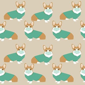 corgi in scrubs fabric operating room dog fabric dog fabric - sand